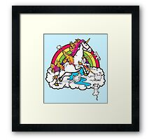 Laser-Shooting, Rainbow-Hugging, Cuteness-Exuding Cats from the Sky (Playing with a Unicorn) Framed Print