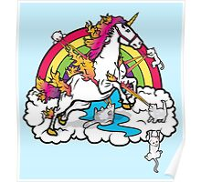 Laser-Shooting, Rainbow-Hugging, Cuteness-Exuding Cats from the Sky (Playing with a Unicorn) Poster
