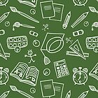 Back to school doodles seamless pattern by PaulMalyugin