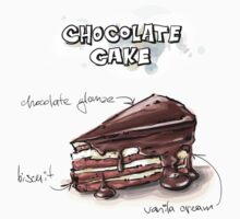 Chocolate Cake Slice Illustration Kids Clothes