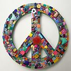 Funky Found Object Mosaic Peace Sign ReTRo Chic by Jeanine Molnar