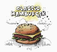 Classic Hamburger Illustration with Ingredients Kids Clothes