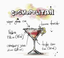 Cosmopolitan Cocktail Illustration with Recipe Kids Clothes