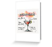 Cosmopolitan Cocktail Illustration with Recipe Greeting Card