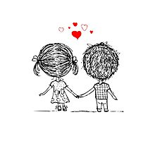 Couple in love together, valentine sketch for your design Photographic Print