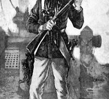 Blackbeard at attention with rifle  by BravuraMedia