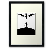 Dragon & Female Warrior - Skyrim Framed Print