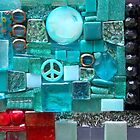 Shine On - Detail of Original Mixed Media Mosaic Art Mirror by Jeanine Molnar