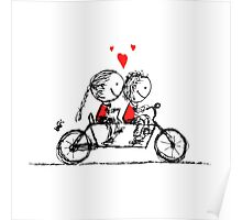 Couple cycling together, valentine sketch for your design Poster