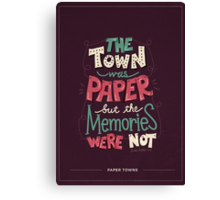 Paper Towns: Town and Memories Canvas Print