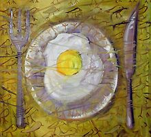 "Oil Painting ""BREAKFAST""  size 24″X24,"" 2009 by Rolandas Dabrukas"