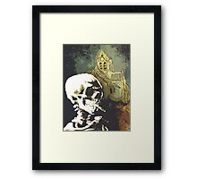 Skull with burning cigarette at Auvers church  Framed Print