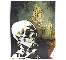 Skull with burning cigarette at Auvers church  Poster