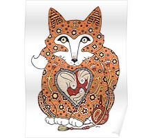 Floral Fox Cub Poster