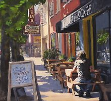 """In the Morning Sun"" Street Scene Painting by Karen Ilari"