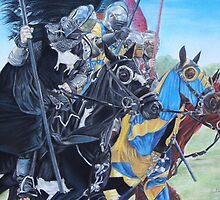 Knights on horses historic realist art  by pollywolly