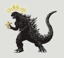Godzilla - complete with cross! by shakespearedude