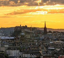 Sunset over Edinburgh Castle from The Crags, Scotland by Miles Gray