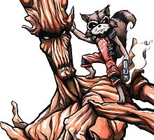 Groot and Rocket by jarofcomics
