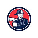 Fireman Firefighter Holding Fire Axe Woodcut by retrovectors