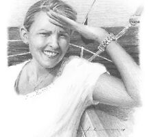 Girlfriend on a boat drawing by Mike Theuer