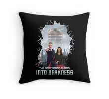 The Doctor and Clara: Into Darkness Throw Pillow