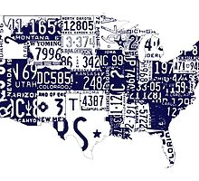 USA vintage license plates map by surgedesigns
