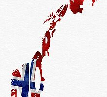 Norway Typographic Map Flag by A. TW