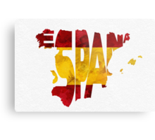 Spain Typographic Map Flag Metal Print