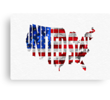 United States Typographic Map Flag Canvas Print
