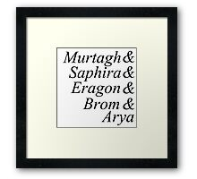 Eragon names Framed Print