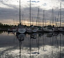 Silvery Boat Reflections - the Marina and the Pearly Clouds by Georgia Mizuleva