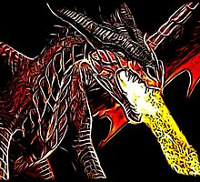 Big Red Angry Fire Breathing Fractal Dragon Design by LuckDragonGifts