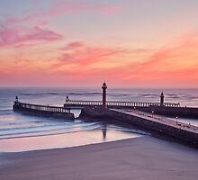 Whitby Pier at Sunrise by lenscraft