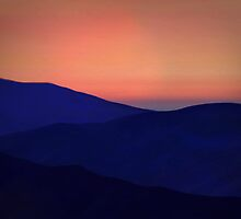 Orange Sorbet Sky and Blue Mountains by emilybrownart