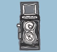 Bold, Black and White Camera Line Drawing Kids Clothes