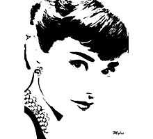 Audrey Simply Beautiful in Black and White Photographic Print