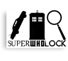 SuperWhoLock - Impala, T.A.R.D.I.S & Magnifying Glass Canvas Print