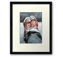 Faded denims and All Star Converse Framed Print
