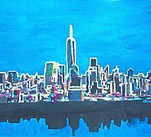 Neon Skyline of New York City Manhattan with One World Trade Center by artshop77