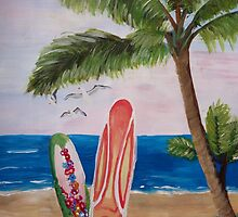 Caribbean Strand with Surf Boards by artshop77