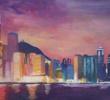 Hong Kong Skyline at Night by artshop77