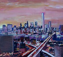 Manhattan with One World Trade Center and Crossing Highways by artshop77