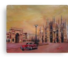 Milan Cathedral with Oldtimer Convertible Alfa Romeo Canvas Print