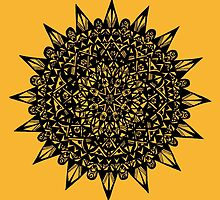 Black Star Mandala Design by Hazel Partridge