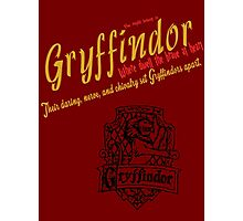 Gryffindor Harry Potter House Poster Photographic Print