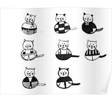 8 different cats in black and white Poster