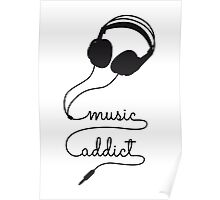 music addict with headphone Poster