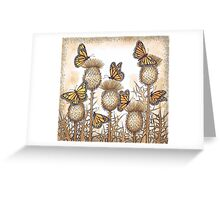 Monarch Butterflies and Spear Thistles Greeting Card