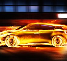 Race car in burning flames in a tunnel art photo print by ArtNudePhotos